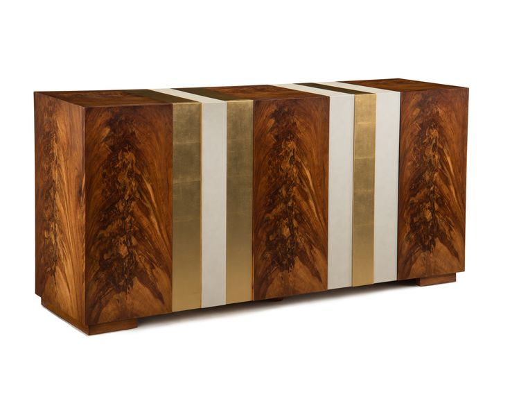 """TOP PICK by Lisa Ferguson www.lisafergusoninteriordesign.com >>John-Richard Falling Water Cabinet This modernist style, Frank Lloyd Wright inspired cabinet with its lineal attributes of exotic Entedua veneer, Amara ebony veneer along with the natural white leather accented with gold detail will surely be a conversation piece. 35""""H X 72.25""""W X 19.25""""D #HPmkt"""