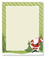 "Jolly Santa Claus Letterhead  Package Quantity: 80  Stock: White 24# Bond  Size: 8-1/2"" x 11""  Laser and InkJet Compatible  Christmas Santa Claus holiday themed stationery"