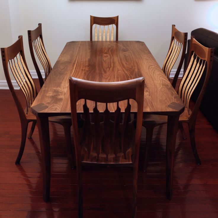 Walnut Dining Set With Birdseye Maple Highlighted Back
