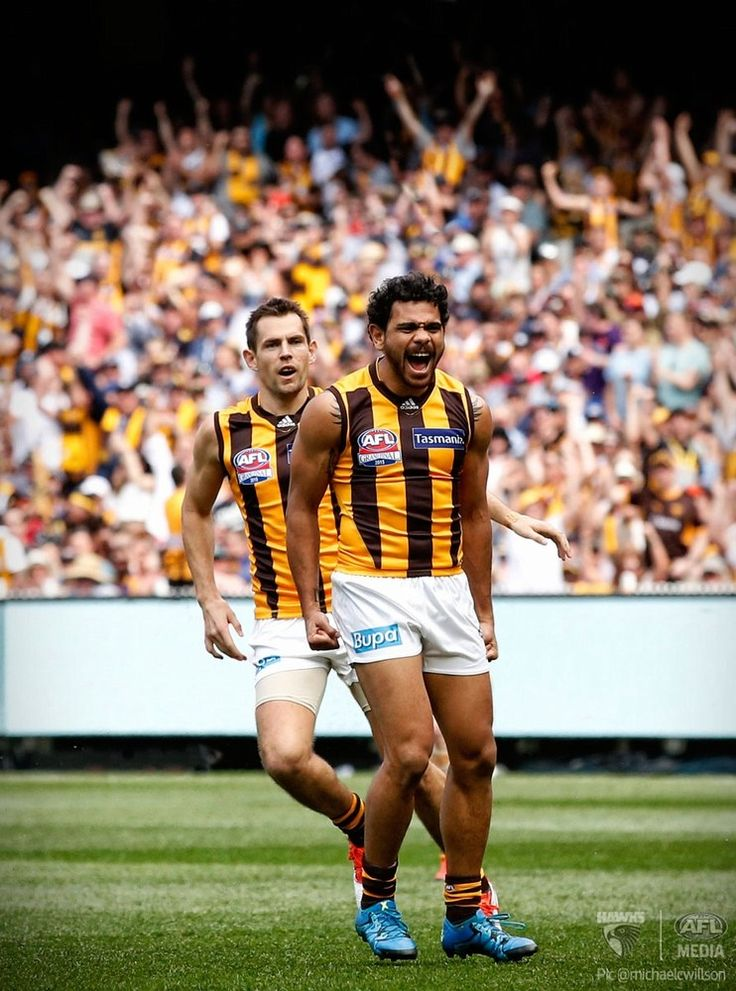 Norm Smith medallist Cyril Rioli celebrates after kicking the team's first goal.