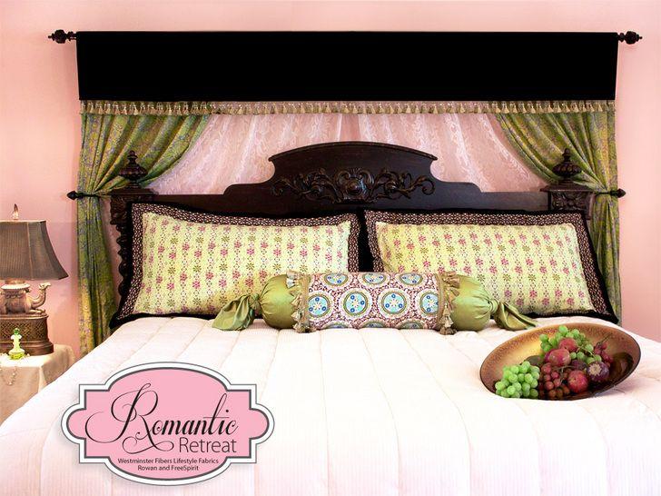 A Romantic Bedroom Retreat with Rowan & FreeSpirit Fabrics: Layered Bed Curtain Backdrop with Velvet Valance