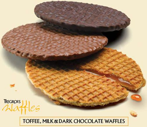 Tregroes Waffles - Toffee, Milk and Dark Chocolate: Perfect warmed over a hot cup of tea, coffee or chocolate for a melt in the middle taste extravaganza! Delicious...  www.coffeebuyer.co.uk/mall/departmentpage.cfm/thecoffeebuyer/_480767/1/WAFFLES