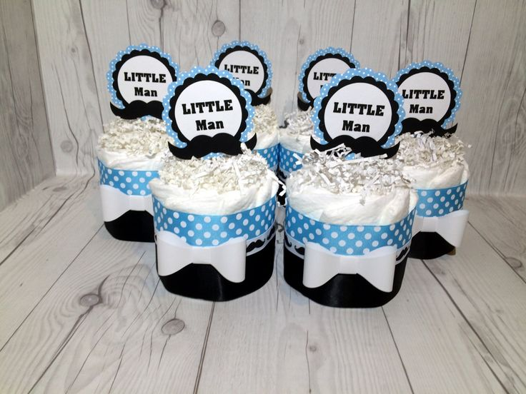 Set of 4 Blue & White Polka Dots Little Man Diaper Cake Centerpieces, Boy Diaper Cake, Baby Shower Centerpiece Set