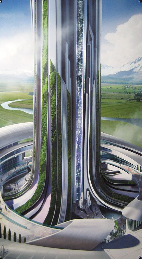 Photo of official pre-production concept art of a fixed bridge portal to Earth from Tomorrowland. Original probably by Jonathan Bach, one of the Tomorrowland concept illustrators. http://www.jbachdesign.blogspot.co.uk/