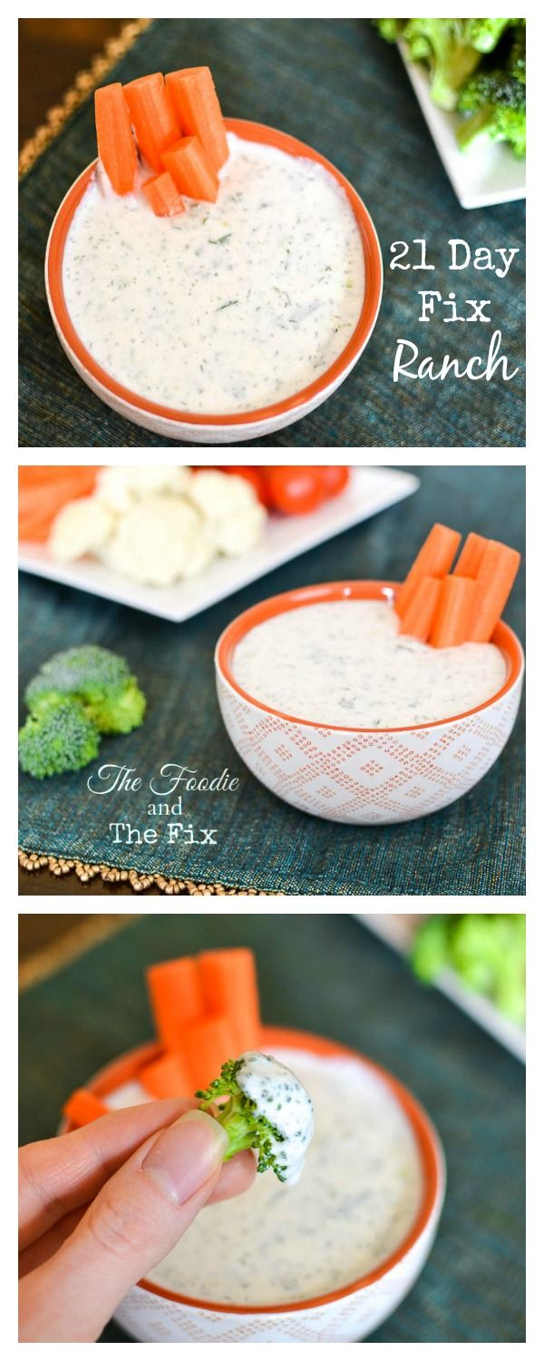 21 Day Fix Ranch Counts as Red 1/2 cup low-fat cottage cheese  2 tbs 1% or 0% Greek yogurt 1 1/2 tbs (2 1/2 tbs if you want to use this as a dressing) low-fat milk, skim milk or unsweetened plain almond milk 2 tsp lemon juice 1/2 tsp onion powder 1/2 tsp garlic powder 3/4 tsp dried dill 1 1/2 tbs green onion, minced 1 tbs fresh parsley, chopped a pinch of salt and black pepper, to taste
