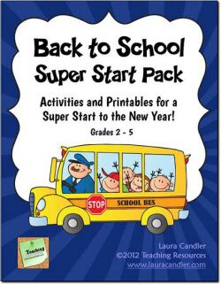 Back to School Super Start Pack from Laura Candler - Huge collection of activities and printables to get your year off to a great start! Mega pack includes classroom forms, activities, ready-to-use printables, tips, and strategies that save you time and effort. $