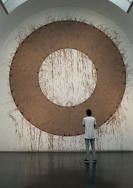 Day Fifty  Richard Long (1945 -)  Chicago Mud Circle, 2010 (image by Amber Wilkie Photography via flickr)    In 1967, when he was 18, Richard Long made a sculpture by the simple act of walking. Key to Land Art, his work is 'simple creative acts of walking and marking about place, locality, time, distance and measurement'.