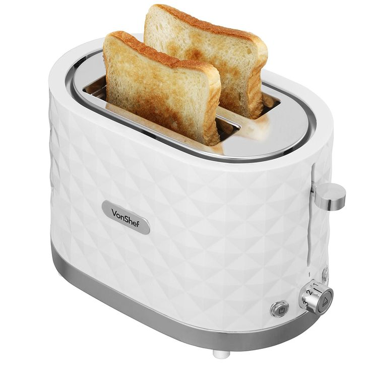 VonShef 1000W White 2 Slice Diamond Wide Slot Toaster with Anti-Jam Function & Slide Out Crumb Tray: Amazon.co.uk: Kitchen & Home