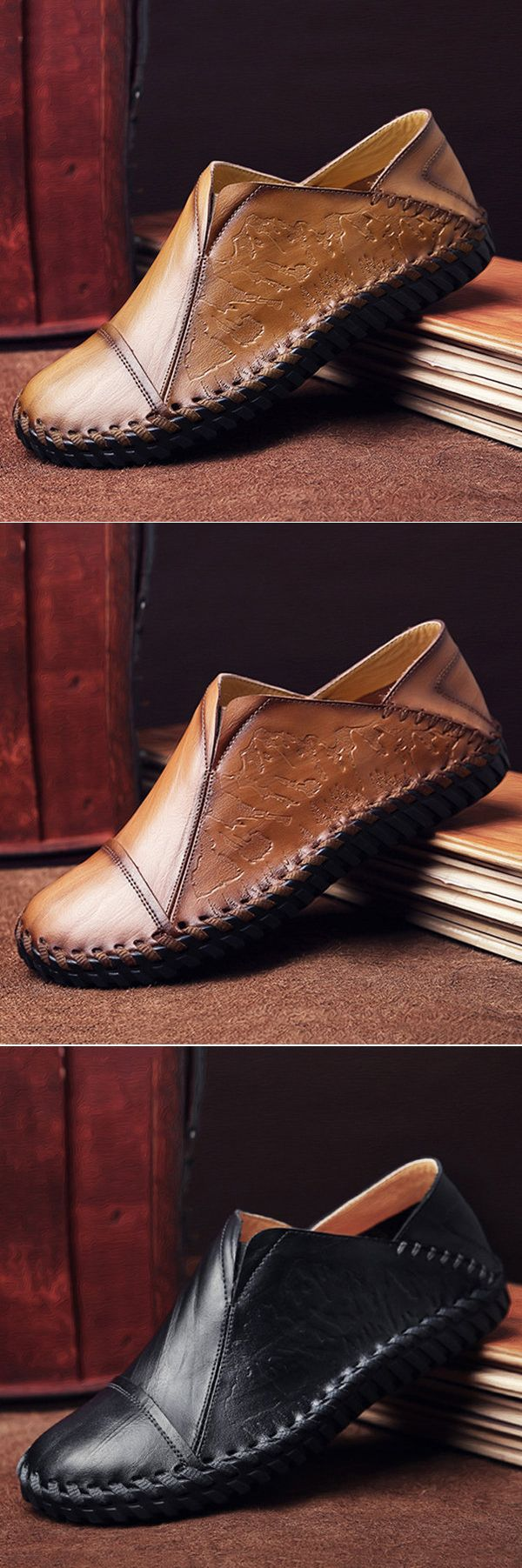 US$38.83 Men Hand Stitching Stylish Cap-toes Vintage Flat Slip On Casual Loafers