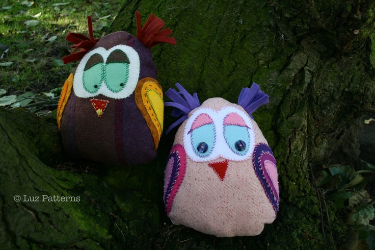 Mr and Mrs hoot! owl plush sewing pattern coming up! Luz Patterns