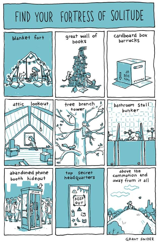 """What's your """"fortress of solitude""""?   You can see more of Grant Snider's wonderful illustrations in Susan Cain's new book, """"Quiet Power"""": http://www.quietrev.com/susan-cain-quiet-power-excerpt/"""