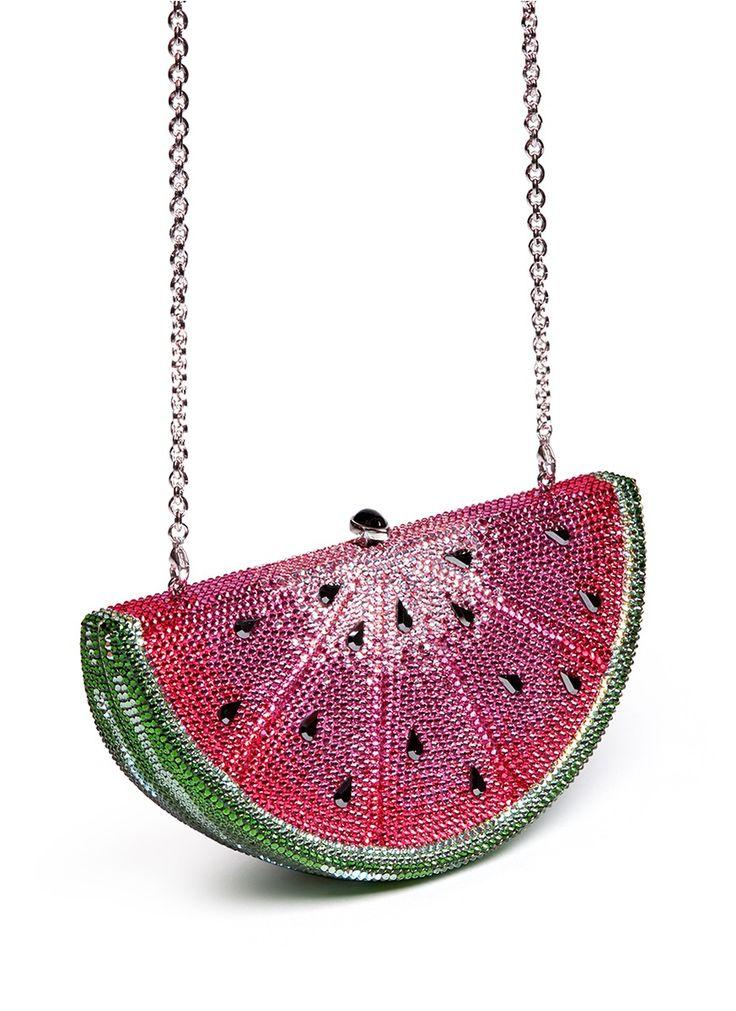 JUDITH LEIBER Watermelon Slice crystal pavé minaudière