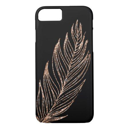 Rose Gold Faux Glitter Feather iPhone 7 Case - click to get yours right now!
