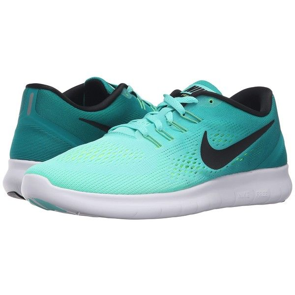 Nike Free RN (Hyper Turquoise/Black/Rio Teal/Volt) Women's Running... ($100) ❤ liked on Polyvore featuring shoes, athletic shoes, sneakers, nike, nike shoes, lace up shoes, turquoise running shoes, black athletic shoes and black shoes