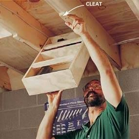 Save Space Idea - Ceiling storage shelves! This would work in a garage too.