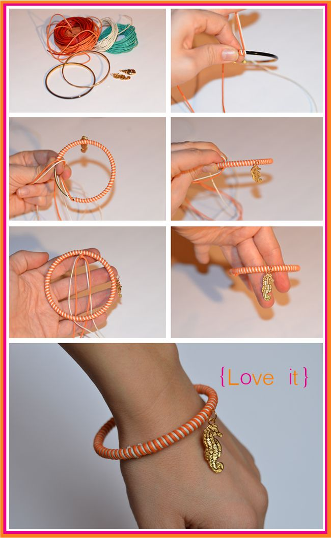 All you need is a bangle, embroidery thread, a jump ring, and a charm! So simple, and if you want to reuse the bangle again, just cut the thread off and take the jump ring off! Super cute and just in time for the Spring and Summer time!