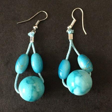 Boucles d'oreilles bleues turquoise marbrées