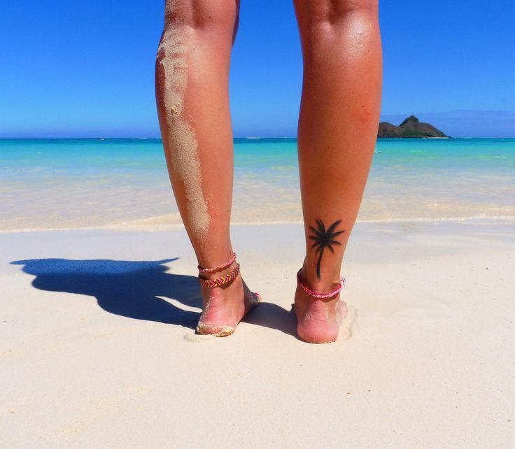 Ankle palm tree tattoo