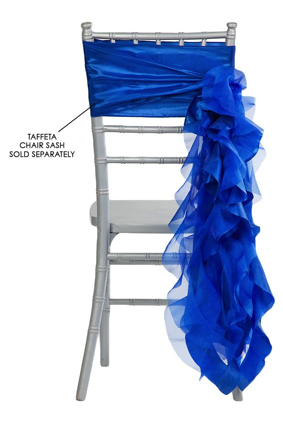 Curly Willow Chair Sash - Royal Blue (new design) ● As Low as $1.68 ● Available from www.cvlinens.com