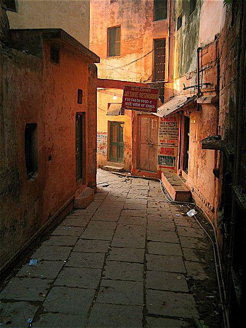 The Old City--Narrow alley in Varanasi, India
