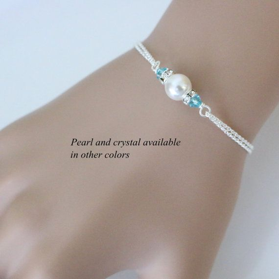 CUSTOM COLOR Swarovski White Light Blue Bridesmaid Bracelet, Bridesmaid Gift, Light Blue Bracelet, Gift for Her, Maid of Honor Gift