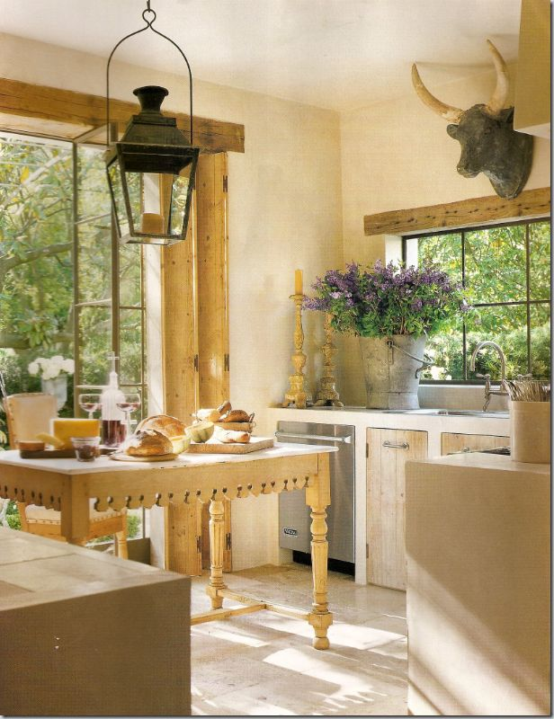 French Country Kitchen W Antique Butchers Table