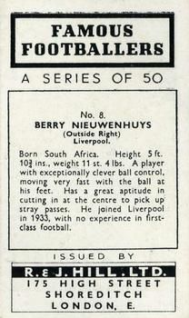 1939 R & J Hill Famous Footballers Series 1 #8 Berry Nieuwenhuys Back