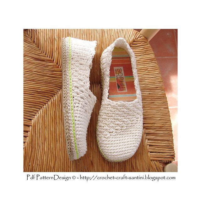 Ravelry: Slanting Line Basic Slippers/Espadrilles pattern by Ingunn Santini €5.00 EUR about $5.83