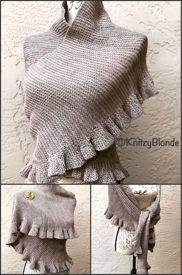 Knitting Pattern for Jenny's Shawl - A soft and practical everyday shawl, designed to look like the shawls worn by Jenny Murray, Mary MacNaband Janet Murray around the farm. Long, curved, rustic, garter-stitch shawl with (wrap & turn) short rows that make a soft ruffle along the lower edge Designed by Knitzy Blonde.