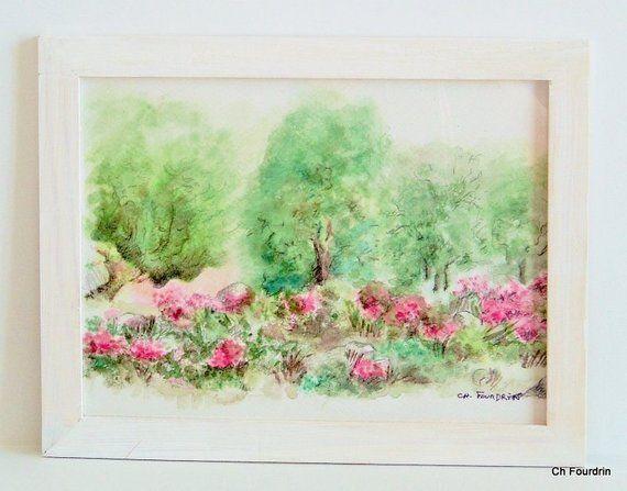 Peinture Aquarelle Bruyeres En Sous Bois Piece Originale
