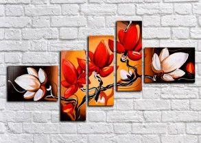 Модульная картина Великолепие цветов (ручная обработка)