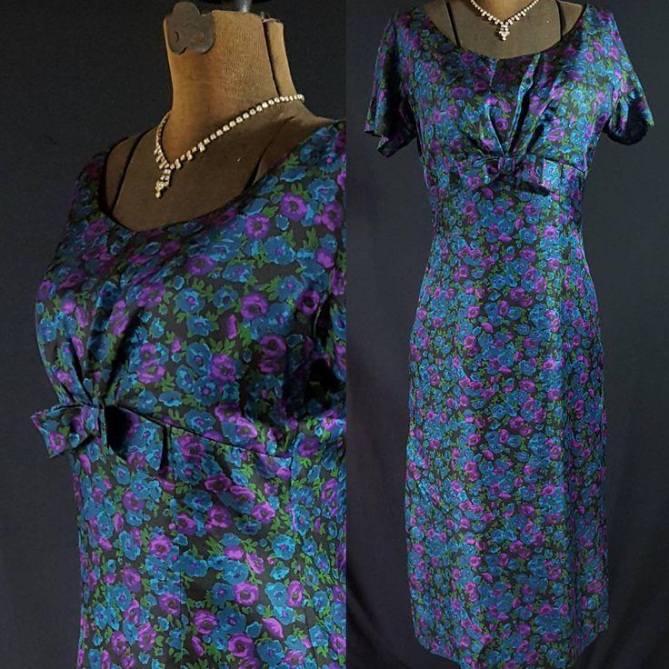 50s Herbert Schneider Wiggle Dress, Silk Floral Print, Mad Men Party by PetticoatsPlus on Etsy