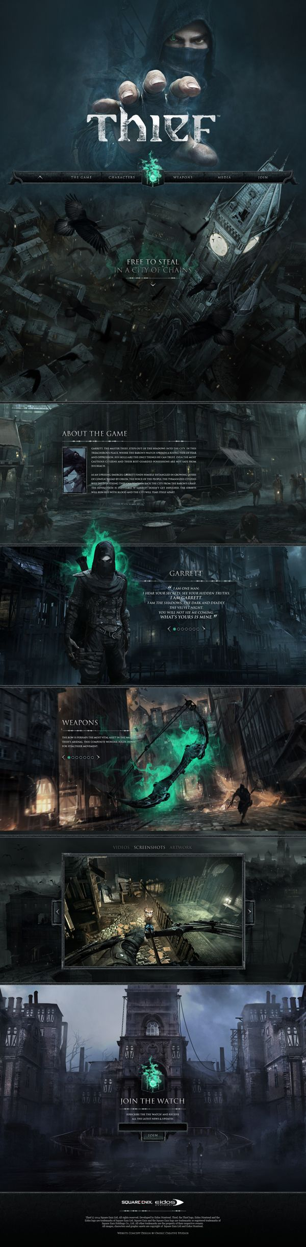 Thief 4 Game Website Concept Design by Oniric Creative Studios, via Behance