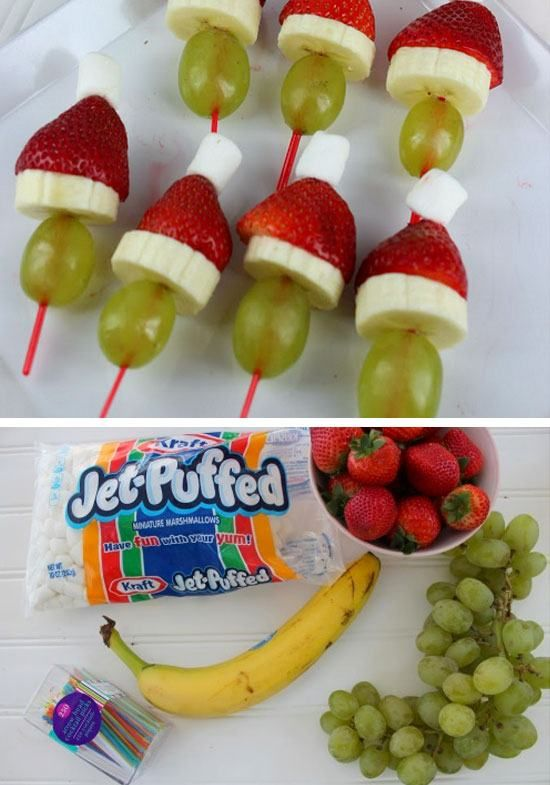 Grinch Kabobs Recipe   Click for 26 Easy Christmas Party Food Ideas for Kids   Easy Holiday Treats for Kids to Make