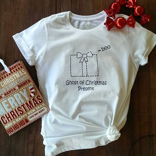 Even Scrooge would love this Ghost of Christmas Present tee!  #scrooge #christmas #tshirt #present #pun #pelicanandwolf
