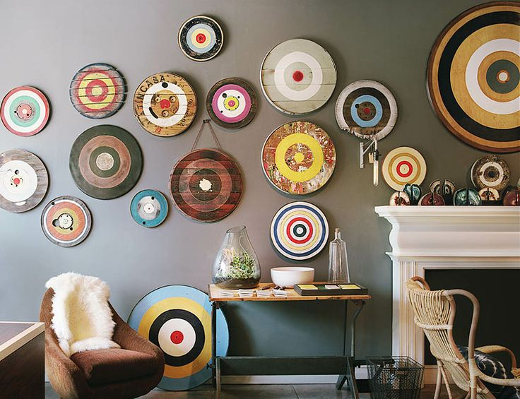 Archery targets as wall art.