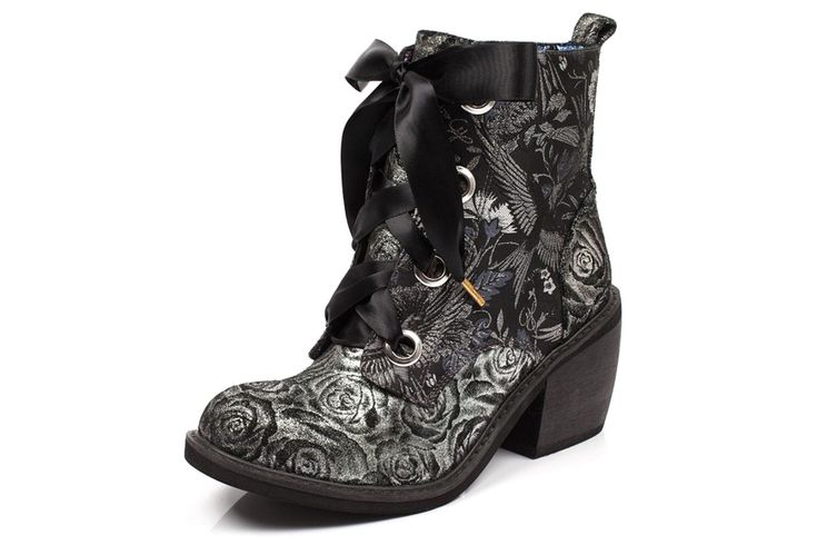 352a048eb Irregular Choice Quick Getaway Silver Black Floral Block Heel Lace Up Ankle  Boots | MyStyle | Boots, Irregular choice, Lace up ankle boots