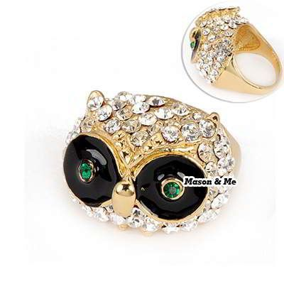 (Golden) Korean Tactful Fashion OWL Decorated With CZ Diamond Charm Ring General. Fashionable with passion REPIN if you like it.😊 Only 104 IDR