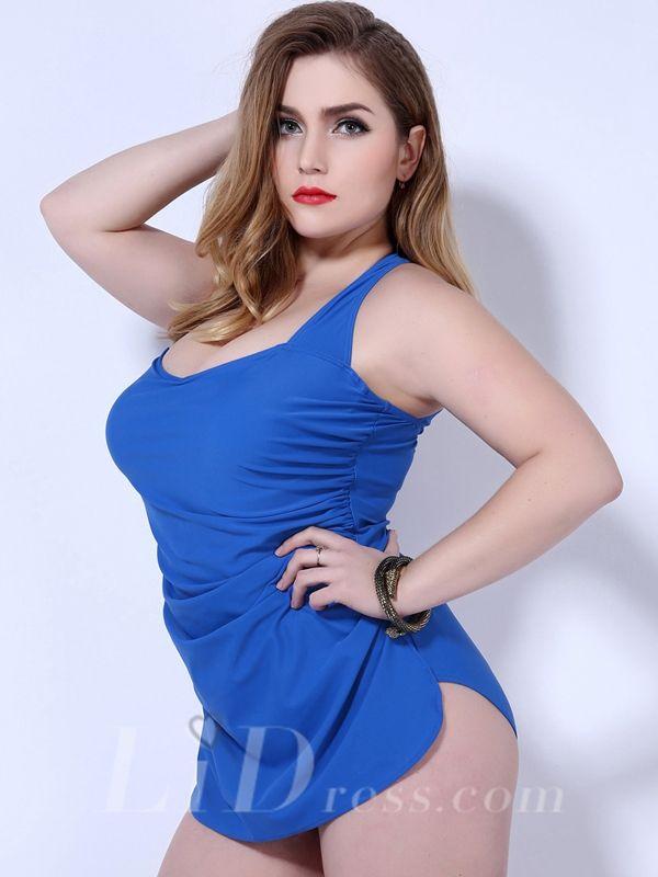 Blue One-Piece Plus Size Womens Swimsuit Lidyy1605202010