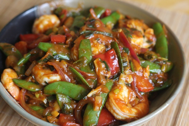 Shrimp with stir fry veggies