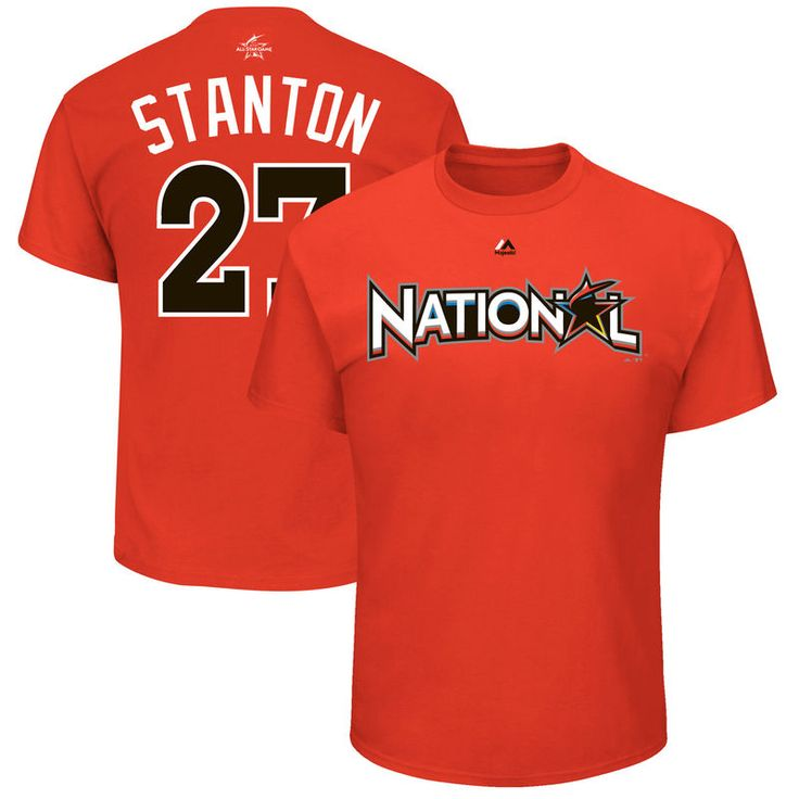 Giancarlo Stanton National League Majestic 2017 MLB All-Star Game Name & Number T-Shirt - Orange