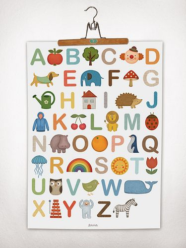 Poster von enna: von A wie Apfel von Z wie Zebra.    Offsetdruck auf hochwertigem 115g Affichenpapier    Größe: 50 x 70 cm