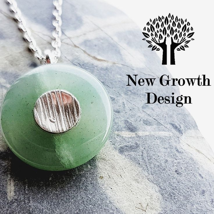Newly listed, a Green Aventurine Pendant using a donut gemstone, the bail is attached through the centre of the stone to the textured detail made from Sterling Silver in the centre.