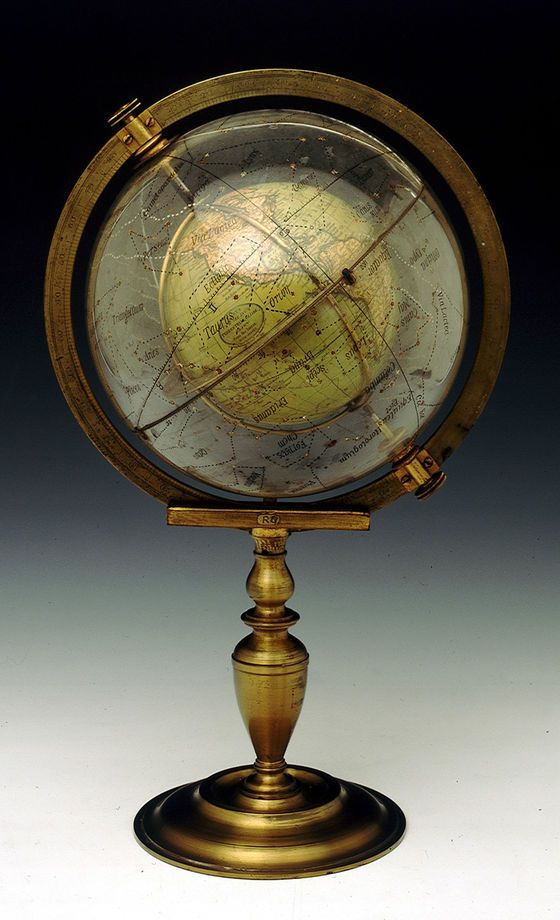 "GLOBE~This 1824 ""cosmosphere"" consists of a printed terrestrial globe, set inside a revolving glass celestial globe. It was invented by Dr William Muller, a major of the Royal Hanoverian Engineers from Woolwich, and made by the Cary brothers."