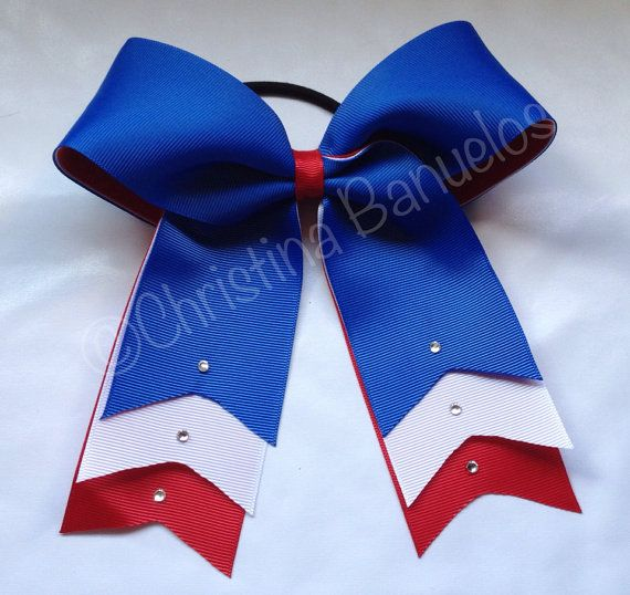 Crystal Rhinestone Royal Blue White Red Cheer Now by TheBowForce, $9.00