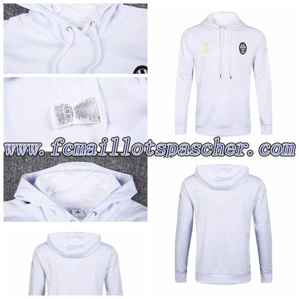 Sweat a Capuche Homme Training Foot Juventus Blanc 2016-17 Prix Moins Cher