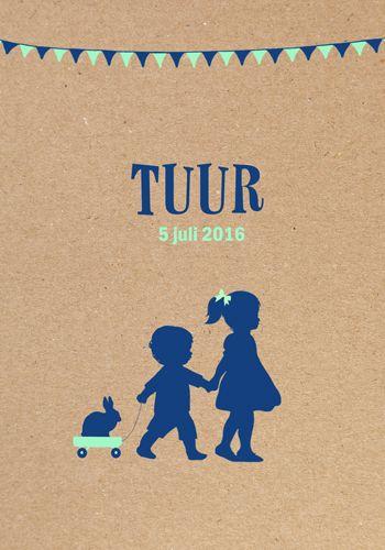 Geboortekaartje Tuur - Pimpelpluis - https://www.facebook.com/pages/Pimpelpluis/188675421305550?ref=hl (# jongen - grote zus - karretje - konijn - vlaggetjes - kraft - vintage - retro - silhouet - lief - origineel)