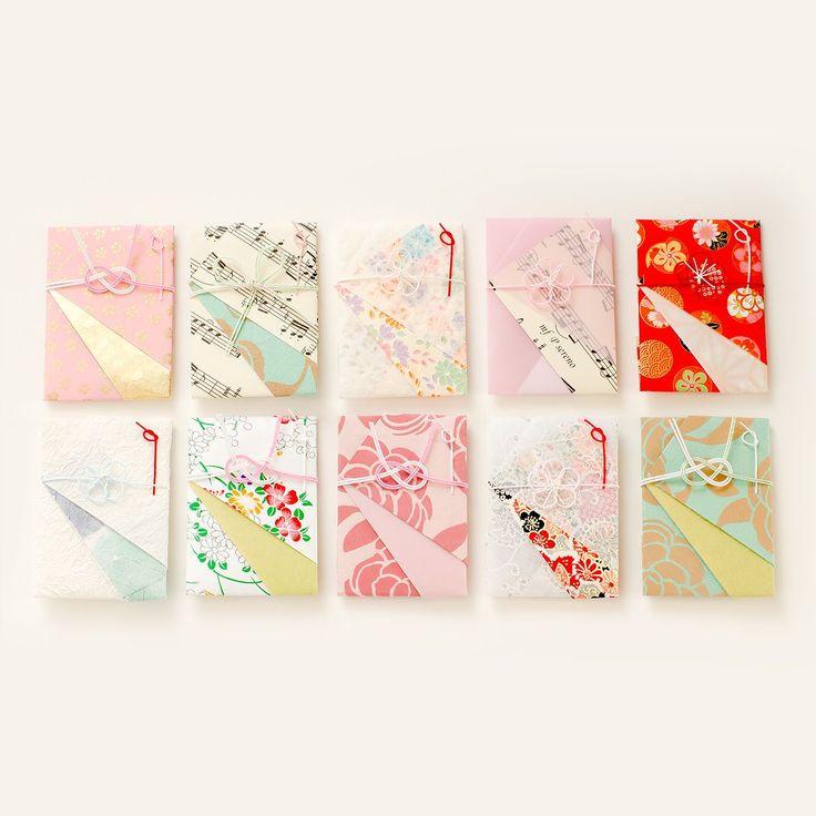 結婚式の際のお車代やお世話になった方への心付けに。デザインいろいろなぽち袋をアソートにしました。 日本全国の和紙や海外からの輸入ぺーパーを組み合わせ、手仕事で水引を結んで仕上げています。 異素材の組み合せや色柄の取り合わせを楽しんでいただけるぽち袋です。