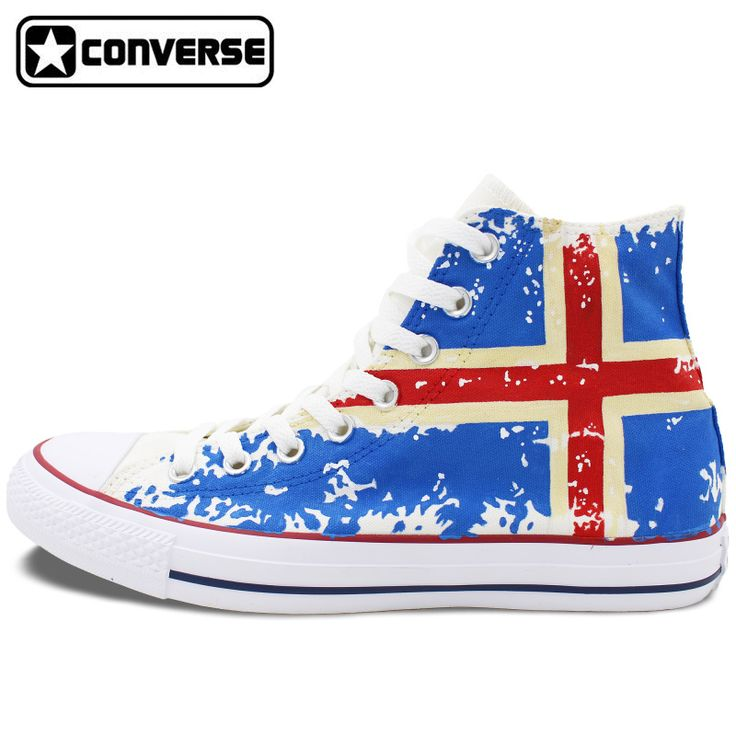 Man Woman Sneakers Iceland Flag Converse All Star Custom Design Hand Painted Canvas Shoes High Top Sneaker Gifts for Men Women