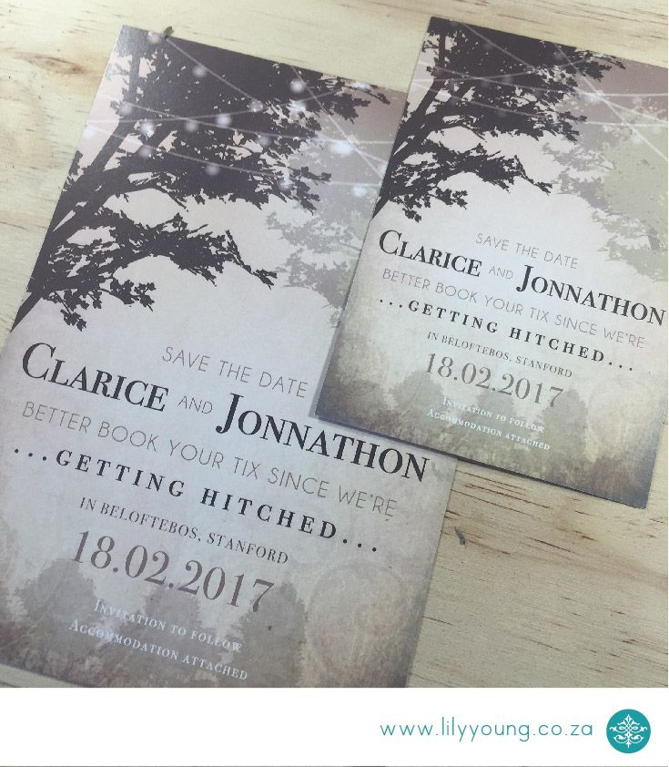 Whimsical, under the trees Save the date. Available in A5,A6,Square or DL size.
